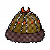 picture of crazy hat  - retro comic book style cartoon medieval hat - JPG