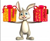 picture of jack-in-the-box  - Easter happy Bunny With  big Gift box - JPG