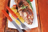 picture of sunfish  - main course on wood - JPG