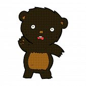 stock photo of bear-cub  - retro comic book style cartoon waving black bear cub - JPG