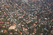 picture of suburban city  - Suburban area of a town viewed from above - JPG