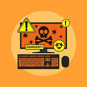 picture of spyware  - picture of computer with skull bugs on its screen and danger signs flat style illustration spyware virus infection concept - JPG