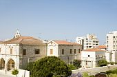 stock photo of larnaca  - rooftop view of stone church and modern buildings Larnaca Cyprus in the Mediterranean - JPG