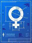 pic of libido  - Stylized drafting of woman sign on blueprint paper - JPG