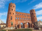 pic of turin  - Palatine towers Porte Palatine ruins of ancient roman town gates in Turin - JPG