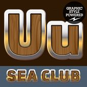 foto of u-boat  - Vector set of elite old styled font in sea club theme - JPG