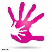 foto of finger-painting  - Vector conceptual human or mother and child hand prints painted - JPG
