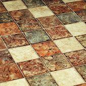 picture of squares  - Vintage multicolor terracotta tile floor - JPG
