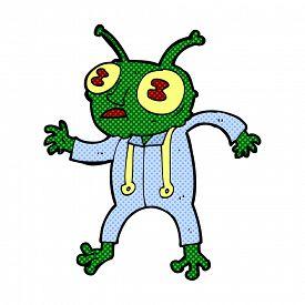 stock photo of spaceman  - retro comic book style cartoon alien spaceman - JPG