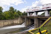 picture of hydraulics  - Photo of hydraulic dam in summer time - JPG