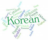 stock photo of korean  - Korean Language Shows Wordcloud Words And International - JPG