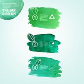 stock photo of environmentally friendly  - Vector watercolor hand drawn painted Illustration of environmentally friendly infographics - JPG