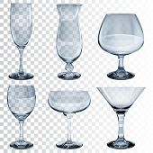 picture of champagne color  - Set of empty transparent glass goblets for wine cocktail champagne and cognac - JPG