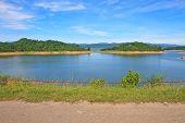 foto of dam  - Views over the reservoir Kaengkrachan dam - JPG