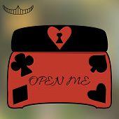 stock photo of casket  - Alice Open Me Key casket jewelry box from Wonderland World  - JPG