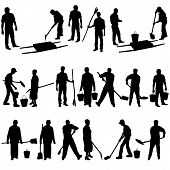 pic of shovel  - Set of black silhouettes of men and women with shovels and buckets - JPG