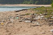 stock photo of polluted  - Dirty beach on the island of Little Andaman in the Indian Ocean littered with plastic - JPG