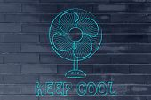 Постер, плакат: Funny Electric Fan Illustration Keep Cool And Stay Fresh In The Heat Wave