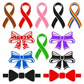 stock photo of ribbon bow  - Awareness ribbons and bows - JPG