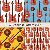 Постер, плакат: Four Vector Flat Seamless Music Instrument Rock Guitar Patterns Set