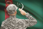 stock photo of turkmenistan  - National military forces with flag on background conceptual series  - JPG