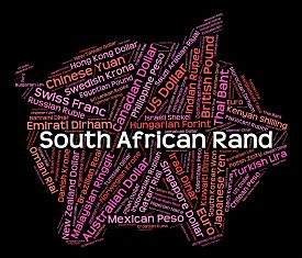 stock photo of zar  - South African Rand Meaning Forex Trading And Word - JPG
