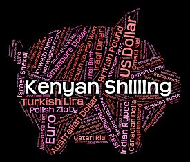 pic of shilling  - Kenyan Shilling Indicating Currency Exchange And Wordcloud - JPG