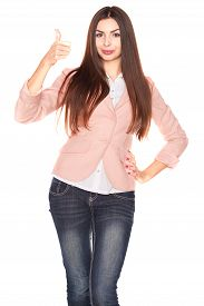 picture of jeans skirt  - Young office lady in jeans and blazer - JPG