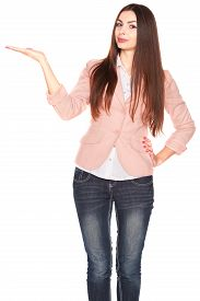 stock photo of jeans skirt  - Young office lady in jeans and blazer - JPG