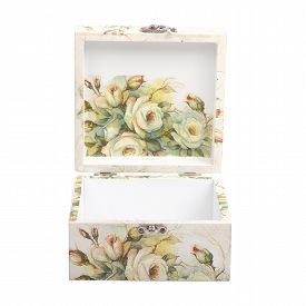 image of decoupage  - floral pattern box decorated with decoupage paper handmade - JPG