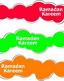 image of ramadan calligraphy  - Arabic Islamic calligraphy of text Ramadan Kareem stickers label tag set - JPG