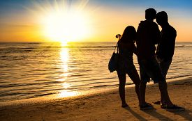 pic of  friends forever  - Group of best friends talking and enjoying sunset  - JPG