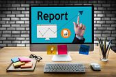 Report Information News Progress Research, credit Report Text On Paper Sheet , Business Documents poster