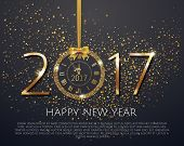 Vector 2017 Shiny New Year Clock In Gold Disco Circle Frame On Black Background. Vintage Elegant Lux poster