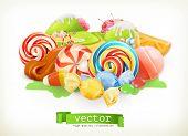 Sweet shop. Swirl candy, lollipop, caramel. Candy land. 3d vector illustration poster
