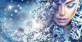 Winter Beauty Woman. Christmas Girl Makeup. Make-up. Beautiful young woman face closeup, winter snow poster