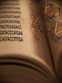 An open book with dna strands and gentic code springing from book