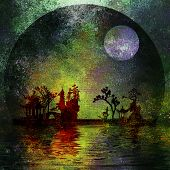 picture of fantasy landscape  - Asia Landscape Textured Painting - JPG