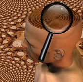 foto of dadaism  - Magnify glass and maze in mans head - JPG