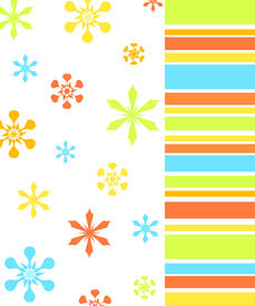 picture of floral design  - Colorful floral and stripes design on white background - JPG