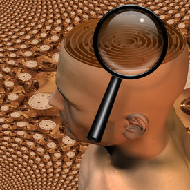 image of dadaism  - Magnify glass and maze in mans head - JPG