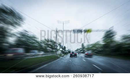 Fastmoving Cars On The Highway