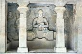 picture of ellora  - Stone sculptures in the  Ellora rock carved Buddhist temple - JPG