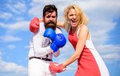 Attack Is Best Defence. Relations Family Life As Everyday Struggle. Man And Woman Fight Boxing Glove poster