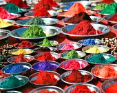 stock photo of pigments  - Colorful tika powders on indian market - JPG