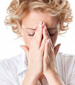 stock photo of sinuses  - Young woman with sinus pressure pain  - JPG