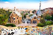 stock photo of gaudi barcelona  - Colorful architecture by Antonio Gaudi - JPG