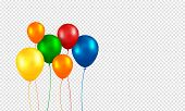 Balloons Vector. Realistic Flying Birthday Helium Balloons. Isolated On Transparent Background. Part poster
