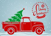 Christmas Greeting Card. Vintage Pickup, Truck With Christmas Tree. Vector Illustration. poster