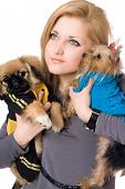 Portrait Of Pretty Young Blonde With Two Dogs. Isolated